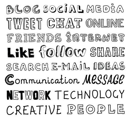 written communication: collection of hand drawn words on the social media and communication theme written in different style and fonts  Isolated on white background Illustration