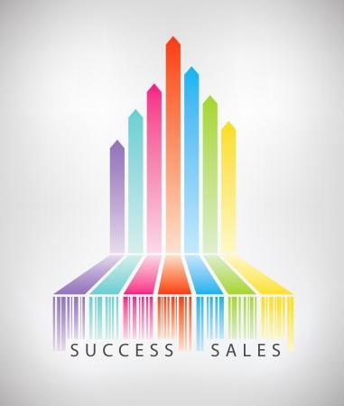 ganancias: Ilustraci�n del concepto de las flechas del arco iris de colores a partir de c�digo de barras que muestra las ventas de comercio electr�nico con �xito aislado en fondo gris claro