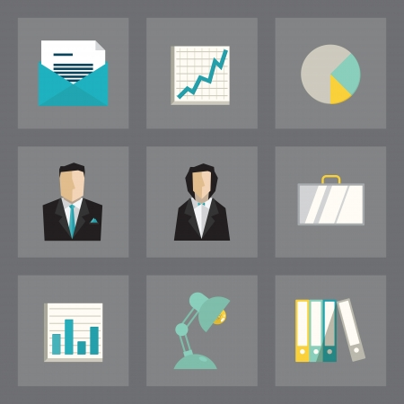 Vector set of business icons in modern flat design on gray background