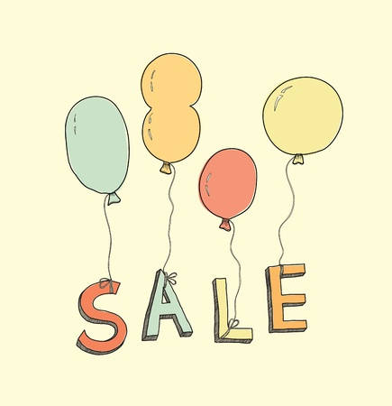 Retro illustration of hand drawn balloons with text SALE in pastel colors symbolizing advertisement of goods and services  Isolated on yellow background Stock Vector - 20419918