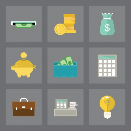 Vector set of finance icons in modern flat design on gray background Illustration