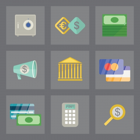 Vector set of finance icons in modern flat design on gray background Vector