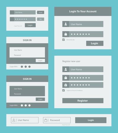 사용자: 사용자 인터페이스 로그인 및 계정 등록 양식 디자인의 벡터 세트는 파란색 배경에 고립 일러스트