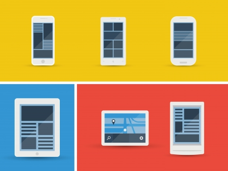 mobile device: Vector illustration set of abstract simplistic user interface layout on different mobile devices  Isolated on yellow, blue and red background