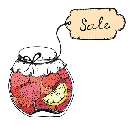 confiture: Hand drawn vector illustration of strawberry pots of jam with SALE text on label  Isolated on white background Illustration