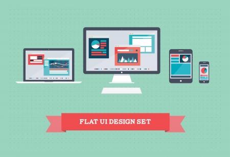 plana: Ilustraci�n vectorial de la interfaz de usuario en la tableta digital y en dispositivos m�viles con cartas infogr�ficas simplistas planos y dise�o de p�ginas web en una pantalla sobre fondo verde