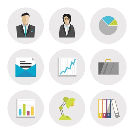 e work: Vector icons set of business objects in modern flat design  Isolated on white background