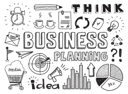 target thinking: Establece Dibujado a mano ilustraci�n vectorial de planificaci�n de negocios garabatos elementos aislados sobre fondo blanco Vectores