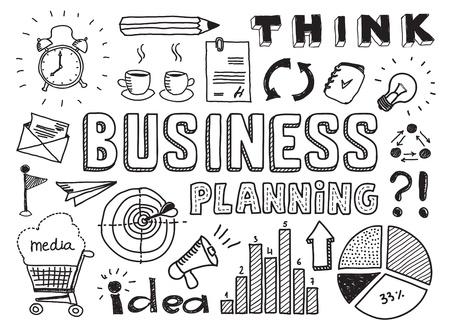 Main illustration de vecteur dessinée ensemble de planification d'entreprise griffonnages éléments isolés sur fond blanc