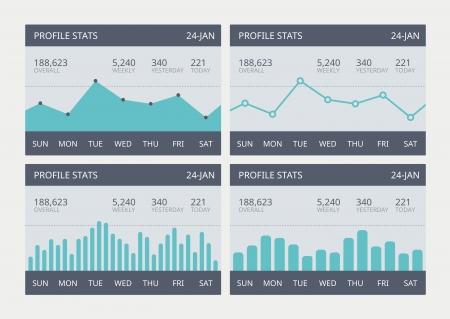 Vector illustratie set van business statistieken grafieken tonen verschillende visualisatie grafieken en cijfers eenvoudig te vector elementen in een moderne platte ontwerp bewerken Stock Illustratie
