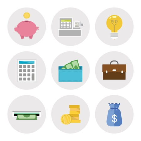 invoices: Vector icons set of finance objects in modern flat design  Isolated on white background Illustration