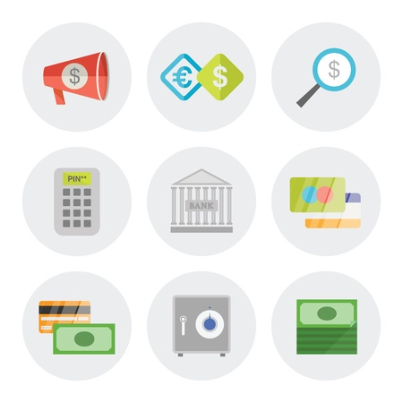 Vector icons set of finance objects in modern flat design  Isolated on white background Vector