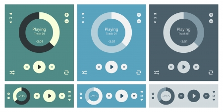 Vector illustration set of modern minimalistic media player user interface with panel control