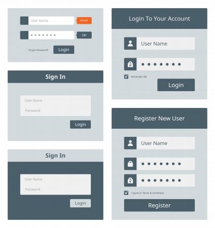 password: Conjunto de vectores de la interfaz de usuario de inicio de sesión y la cuenta de registro de diseño de formularios Aislado sobre fondo blanco