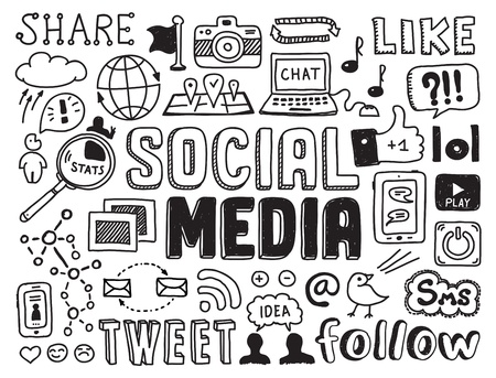 Dibujado a mano ilustración vectorial conjunto de signo de medios sociales y símbolos garabatos elementos aislados sobre fondo blanco Foto de archivo - 20856915