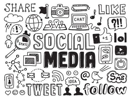 medios de comunicacion: Dibujado a mano ilustraci�n vectorial conjunto de signo de medios sociales y s�mbolos garabatos elementos aislados sobre fondo blanco