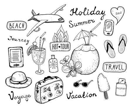 hot tour: Hand drawn vector illustration set of travel, tourism and summer doodles elements  Isolated on white background