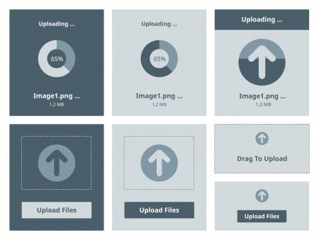 Vector illustration set of modern minimalistic web upload widget interface  Illustration