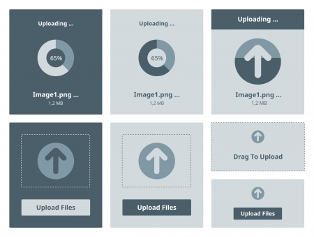 Vector illustration set of modern minimalistic web upload widget interface  Stock Vector - 20856919