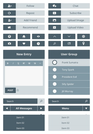 Vector set of user interface navigation elements and buttons for website  Isolated on gray background  Vector