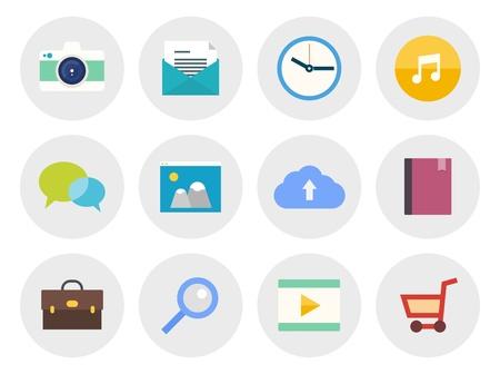 planos: Vector colección de iconos modernos en diseño plano en diversos tema aislado en el círculo gris sobre fondo blanco