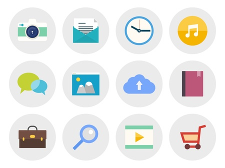 loupe: Vector collection of modern icons in flat design on various theme  Isolated in gray circle on white background
