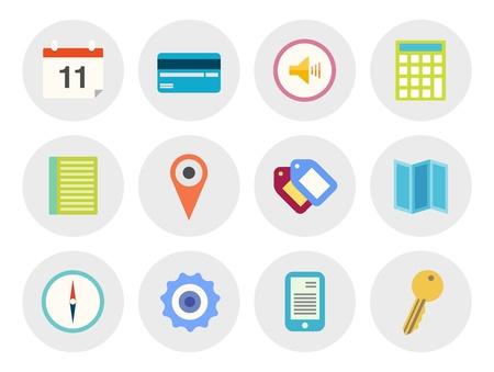simgeler: Çeşitli tema düz tasarım modern ikonlar vektör koleksiyonunu beyaz zemin üzerine gri daire İzole