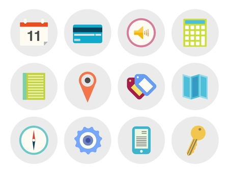 Vector collection of modern icons in flat design on various theme  Isolated in gray circle on white background