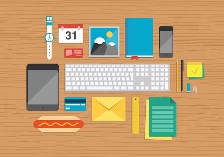 pupitre: Ilustración vectorial conjunto de elementos de oficina y de negocios de trabajo en una textura Vista superior mesa