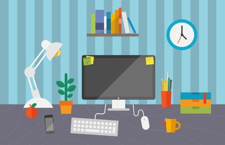 pc: Vector illustration of routine organization of business workspace in the office