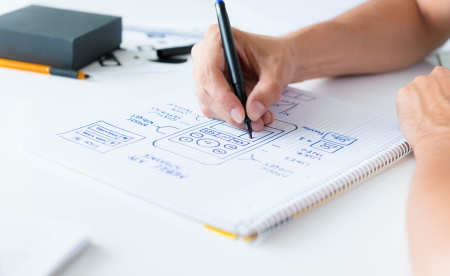 Designer ontwikkelt een mobiele applicatie usability en tekenen dat kader op een papier Stockfoto
