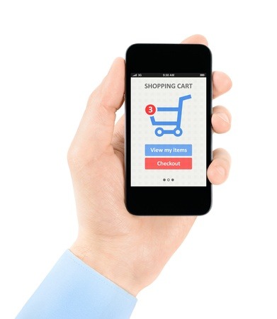 e commerce icon: Mens hand holding modern mobile phone with online shopping application on a screen  Isolated on white background