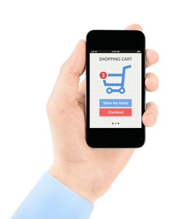 consommateurs: Mens main tenant un t�l�phone mobile moderne avec application d'achat en ligne sur un �cran isol� sur fond blanc Banque d'images