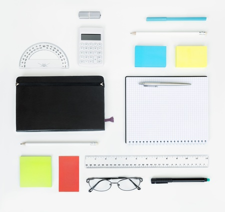 school desk: Workplace with office items and business elements on a desk  Concept for branding  Top view