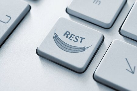 Computer button on a keyboard with rest icon symbol on a key Stock Photo - 20857091