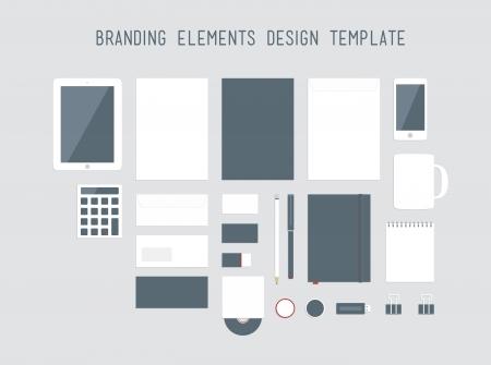 marca libros: Calidad set vector del diseño de marca de estilo corporativo con una variedad de objetos de oficina en blanco para su presentación aislada sobre fondo gris claro Vectores