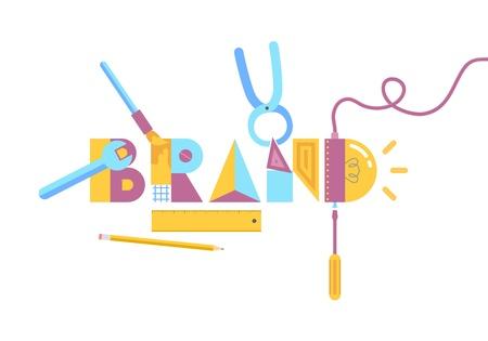 ブランド構築概念分離した白い背景の上のベクトル イラスト