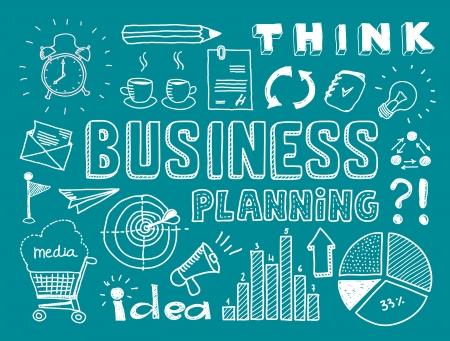 target thinking: Establece Dibujado a mano ilustraci�n vectorial de planificaci�n de negocios garabatos elementos aislados sobre fondo verde azulado