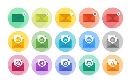 Vector collection of modern e-mail icons illustration for various purposes in flat design  Isolated in colored circle on white background  Vector