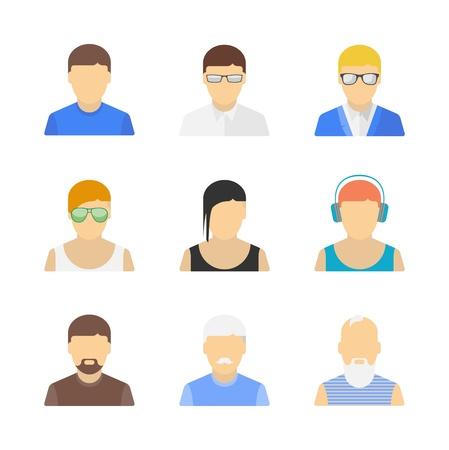 avatars: Insieme vettoriale di eleganti personaggi maschili belli nel design piatto moderno isolato su sfondo bianco Vettoriali