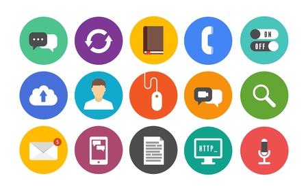 통신 및 흰색 배경에 색깔 원에 격리 된 휴대 연결 주제에 현대 평면 디자인 스타일의 다채로운 아이콘의 벡터 컬렉션