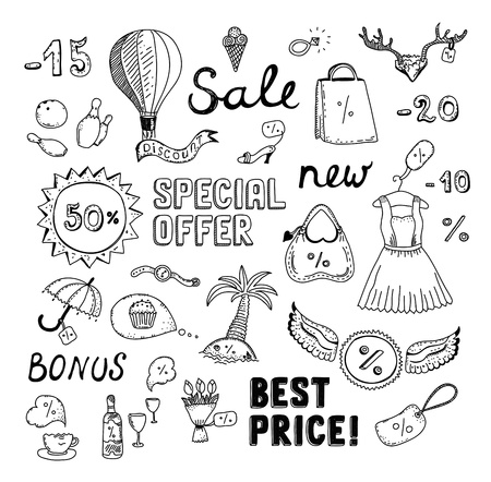 Hand drawn vector illustration set of sales and discount savings doodle elements  Isolated on white background