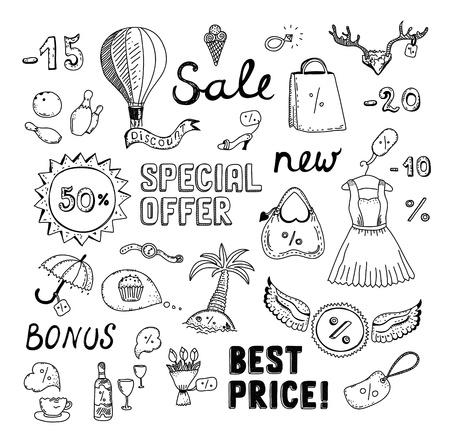 Hand getrokken vector illustratie set van verkoop en kortingsbesparingen doodle elementen geïsoleerd op een witte achtergrond