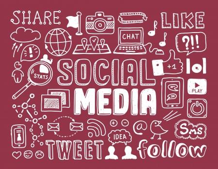 médias: Dessinés à la main vecteur illustration ensemble de signes médias sociaux et le symbole griffonnages éléments isolés sur fond rouge