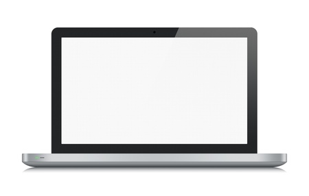 High quality illustration of modern metallic laptop with blank screen  Front view  Isolated on white background  Stok Fotoğraf