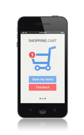 e commerce icon: High quality illustration of modern smartphone with shopping cart icon on a screen  Isolated on white background