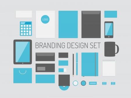 merken: Kwaliteit vector set van corporate identity voor branding ontwerp met een verscheidenheid van lege kantoor objecten geïsoleerd op lichtgrijze achtergrond