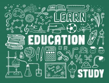 手の描画ベクトル図一連の教育と学習学校オブジェクトおよび項目から分離された緑の背景にいたずら書き  イラスト・ベクター素材