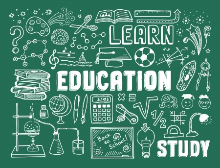 Insieme disegnato a mano dell'illustrazione di vettore di istruzione e dei doodles di apprendimento con gli oggetti e gli oggetti della scuola isolati su fondo verde Vettoriali
