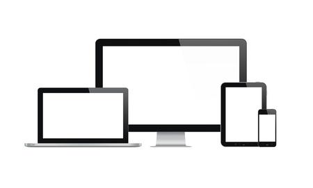 高品質の図は、現代のコンピューターのモニター、ラップトップ、デジタル タブレットと空白の画面から分離された白い背景の上で携帯電話の設定